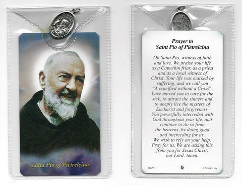 St. Padre Pio Prayer Card and Medal