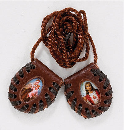 Brown Leather Scapular - Discount Catholic Store