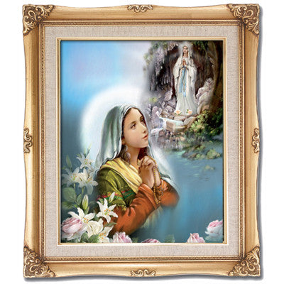 St. Bernadette with Our Lady of Lourdes  Framed Art