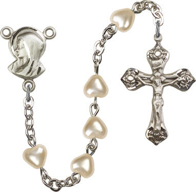 Heart Shaped Faux Pearl Rosary - Discount Catholic Store