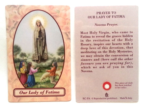 Our Lady of Fatima Relic Prayer Card