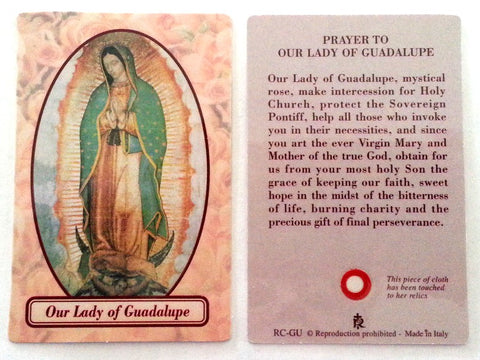 Our Lady of Guadalupe Relic Prayer Card