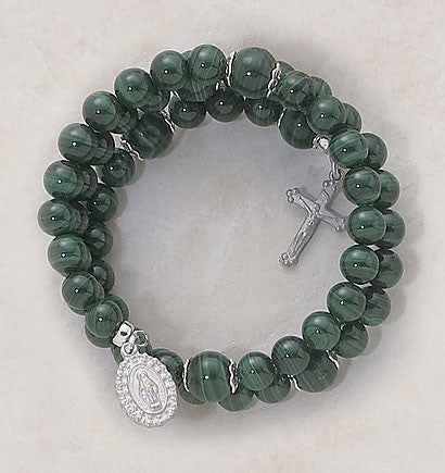 Faux Malachite Wrap Around Bracelet