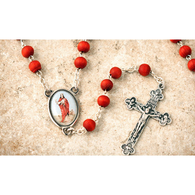 Wood Bead Rose Scented St. Barbara Rosary