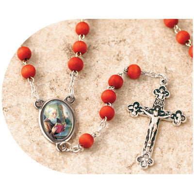 Wood Bead Rose Scented St. Benedict Rosary