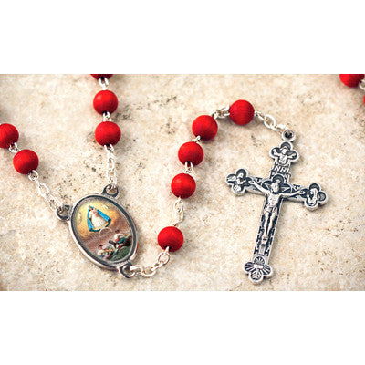 Wood Bead Rose Scented Our Lady of Charity Rosary