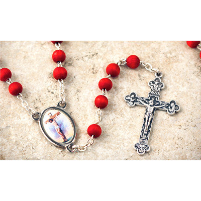 Wood Bead Rose Scented Crucifix Rosary
