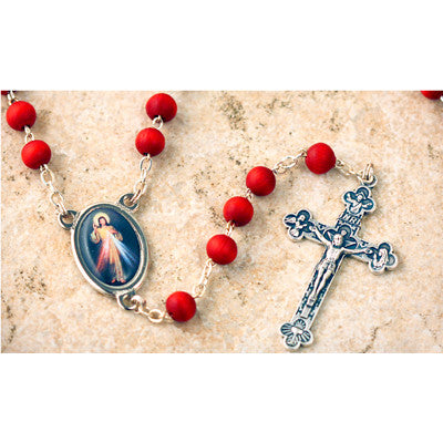 Wood Bead Rose Scented Divine Mercy Rosary