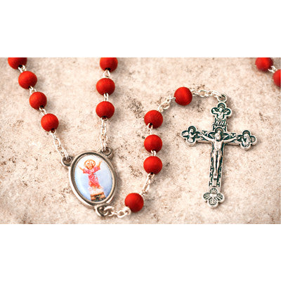 Wood Bead Rose Scented Divino Nino Rosary