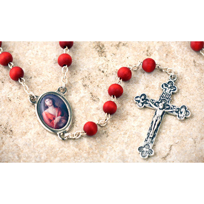 Wood Bead Rose Scented Ecce Homo Rosary