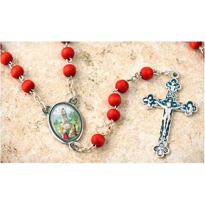 Wood Bead Rose Scented Our Lady of Fatima Rosary