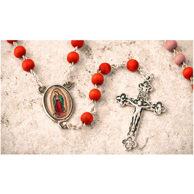 Wood Bead Rose Scented Our Lady of Guadalupe Rosary