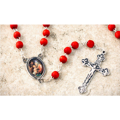 Wood Bead Rose Scented Holy Family Rosary