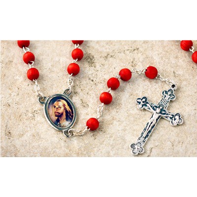 Wood Bead Rose Scented Head of Christ Rosary