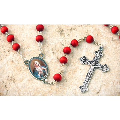 Wood Bead Rose Scented Immaculate Heart of Mary Rosary