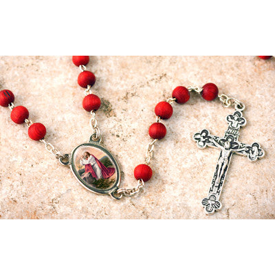 Wood Bead Rose Scented Praying Jesus Rosary