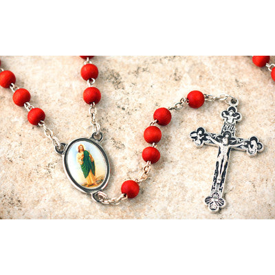 Wood Bead Rose Scented St. Jude Rosary