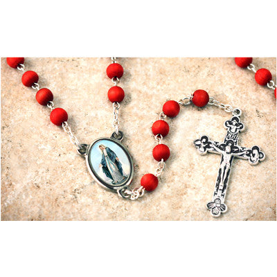 Wood Bead Rose Scented Our Lady of Grace Rosary