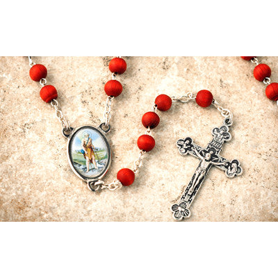 Wood Bead Rose Scented St. Lazarus Rosary