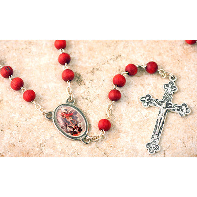 St. Michael<br>Wood Bead Rose Scented Rosary - Discount Catholic Store