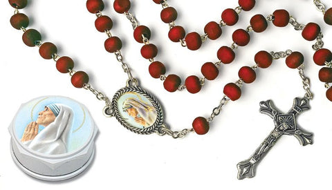 St. Mother Teresa Wood Bead Rose Scented Rosary - Discount Catholic Store