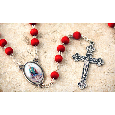 Wood Bead Rose Scented St. Patrick Rosary