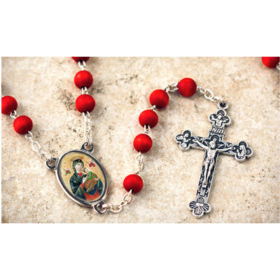 Wood Bead Rose Scented Our Lady of Perpetual Help Rosary