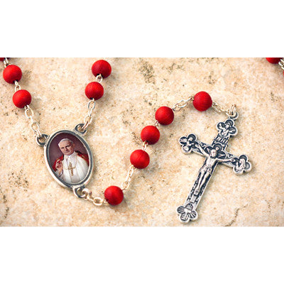Wood Bead Rose Scented St. John Paul II Rosary