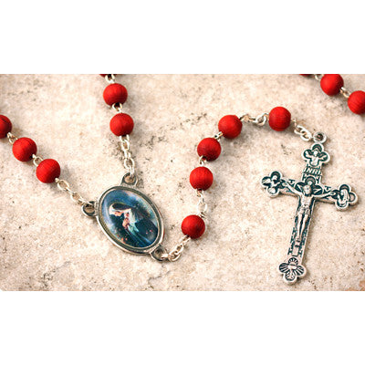 Wood Bead Rose Scented Rosa Mystica Rosary