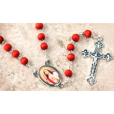 Wood Bead Rose Scented Sacred Heart of Jesus Rosary