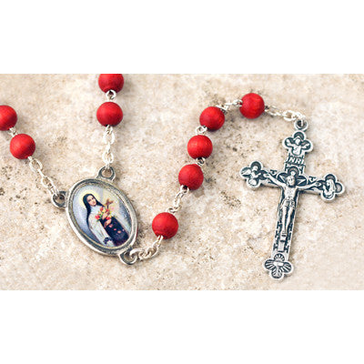 Wood Bead Rose Scented St. Therese Rosary