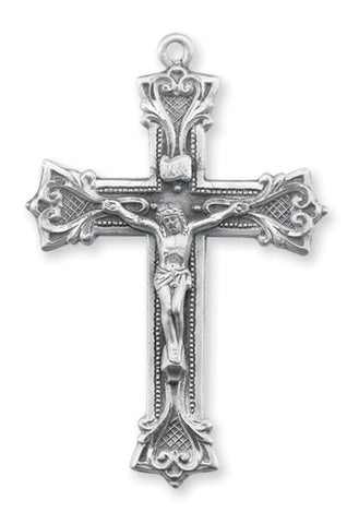 Sterling Gothic Scroll Style Crucifix