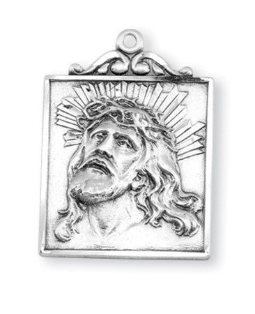Sterling Silver Square Crown of Thorns Medal