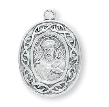 Crown of Thorns Sterling Silver Scapular Medal