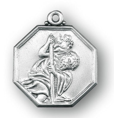 Saint Christopher Octagon Sterling Silver Medal