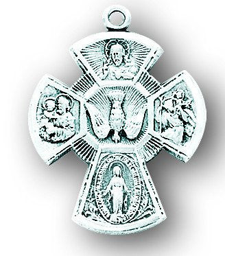 "Sterling Silver 4-Way Medal 15/16"" - Discount Catholic Store"