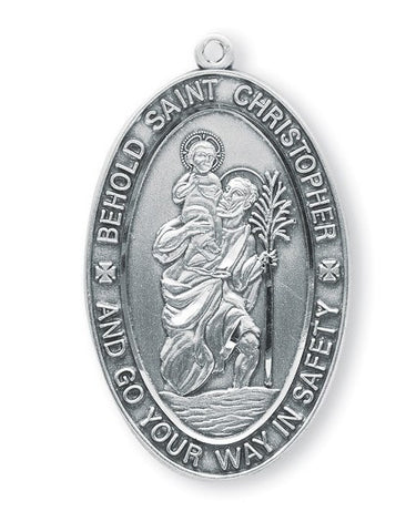 Saint Christopher Oval Sterling Silver Medal