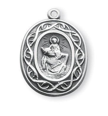 Saint Christopher Oval Sterling Silver Crown of Thorns Medal