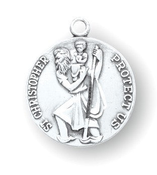 Saint Christopher Round Sterling Silver Medal