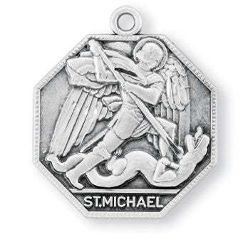 Saint Michael Octagon Sterling Silver Medal