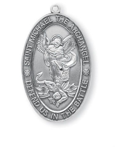 Saint Michael Oval Sterling Silver Medal