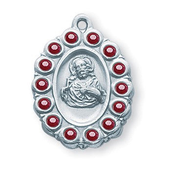 Sterling Silver Scapular Medal with Swarovski Ruby Crystals