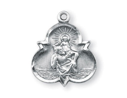 Saint Christopher Sterling Silver Trinity Symbol Medal