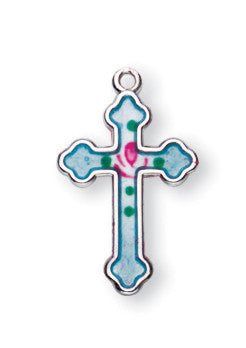 Sterling Blue Enameled Cross