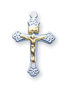 Sterling Two Toned Tapered Crucifix