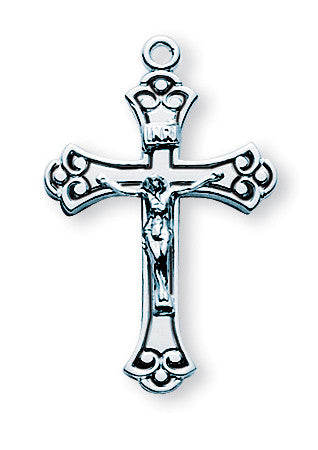 Sterling Swirled Black Enameled Crucifix
