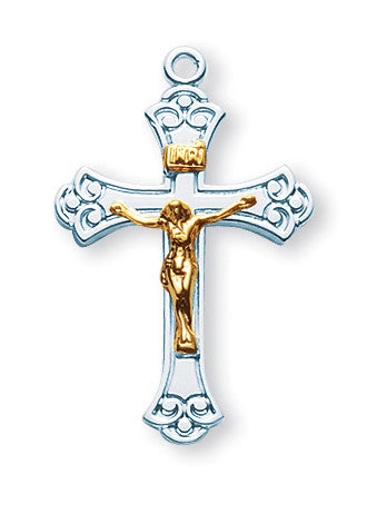 Sterling Two Toned Swirled Crucifix