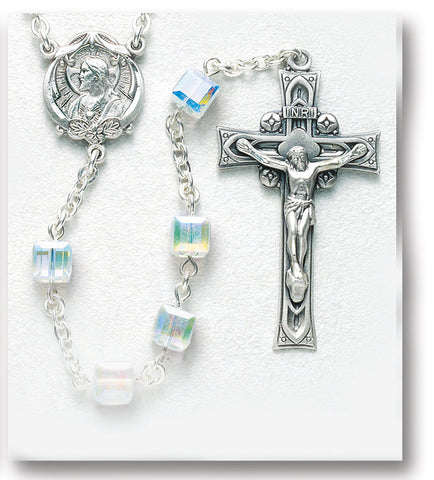 Aurora Faceted Cube Sterling Rosary