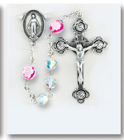 Swarovski Crystal and Murano Glass Sterling Rosary