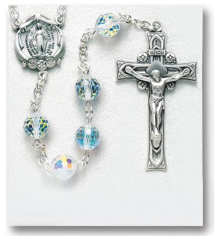 Faceted Round Aurora Sterling Rosary